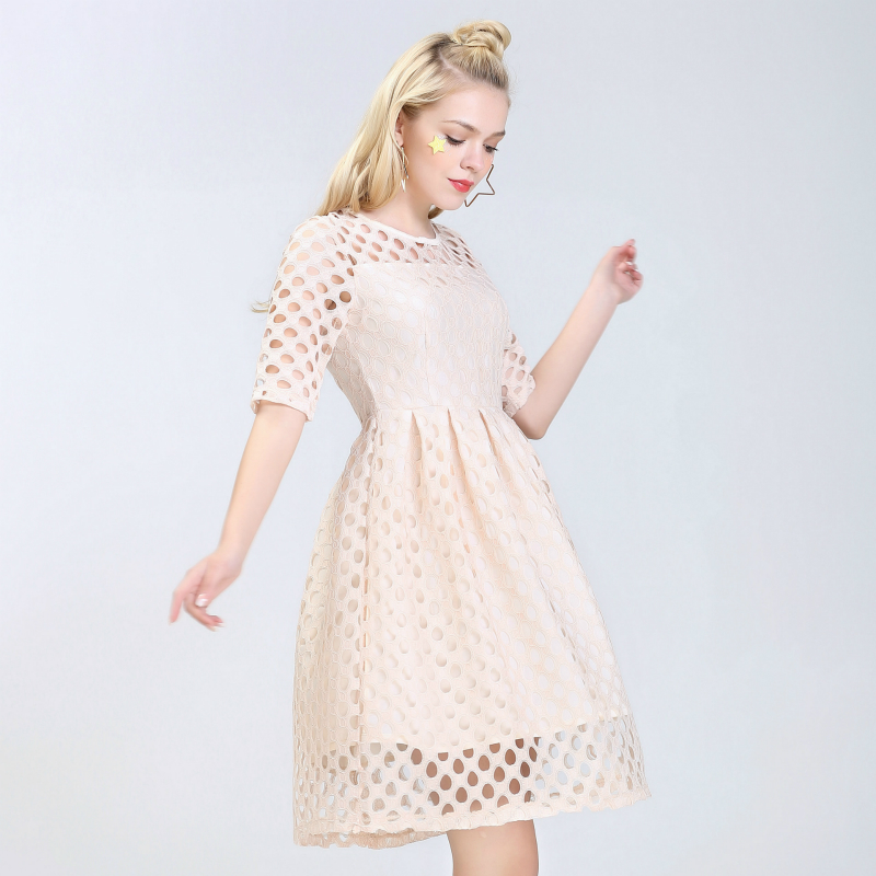 959aa255a2 FRISMODE Polka Dot Doce Oco Fora de Damasco Vestido de Renda 2017 Moda  Princesa Bonito Vestido Midi Vestidos Mulheres Verão Vestido Rosa em  Vestidos de ...
