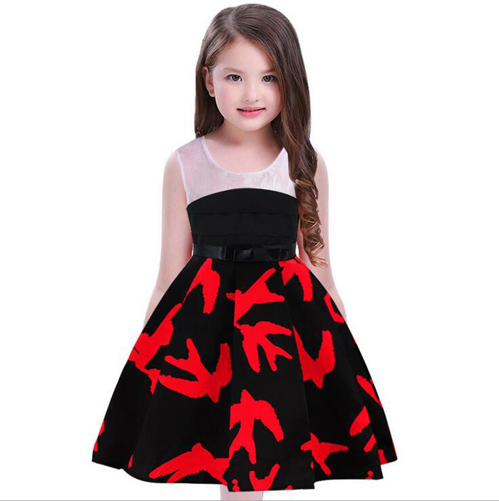 Girls Swallow Print Tailing Dress Princess Vestidos Infant Costumes Fever Wedding Birthday Party Tail Frocks For 2 4 6 8 10 Year girls tulle tailing embroidery lace bow dress for wedding birthday party manual nail bead frocks costumes size 4 6 8 10 12 years