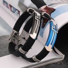Cross PU Leather Stainless Steel Bracelet Men Fashion Jewelry Bracelets & Bangles Mens Arm band Silicone Wristband Gift