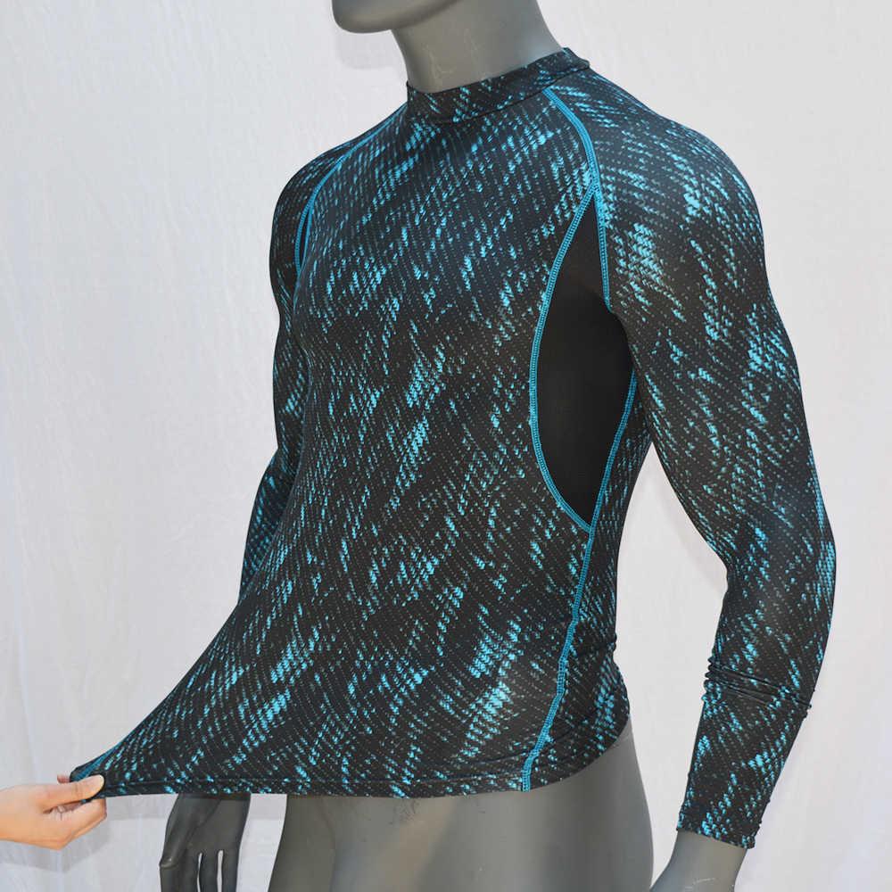 Lengan Panjang Dicetak Pria Surf Ruam Penjaga Berkualitas Tinggi Kering-Cocok Surfing Ruam Penjaga Baju Renang Anti Sinar UV Top UPF 50 renang Baju 2019