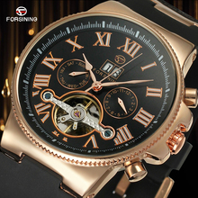 Forsining Men's Automatic Round Watch Military Sport Clock Male Business Mechanical Wristwatches with Black Plastic Band