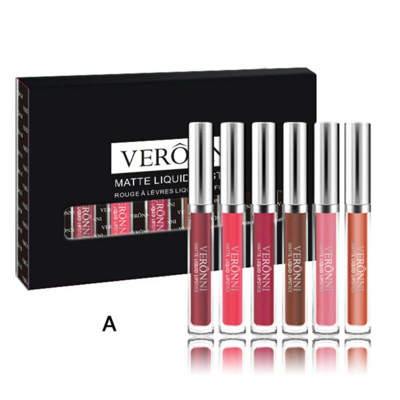 6 PCS/Box Matte Lip Gloss Women Lips Make up Lipstick Liquid Kit Exquisite Gift Box long lasting Waterproof Lip Gloss Set