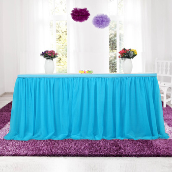 755f89c13 ¡6FT! Falda larga de la Mesa de la boda de la Seda del hielo para la  cubierta de la Mesa ropa de ...
