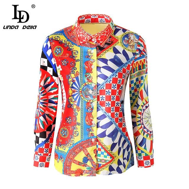 LD LINDA DELLA Runway Designer 3XL Plus size Blouses Women's Long Sleeve Vintage Chiffon Print Shirt Fashion Tops Casual Blouse