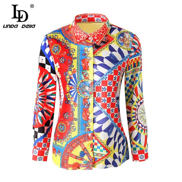 Runway Designer 3XL Plus size Blouses Women's Long Sleeve Vintage Chiffon Print Shirt Fashion Tops Casual Blouse