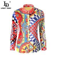 LD LINDA DELLA Runway Designer 5XL Plus size Blouses Women's Long Sleeve Vintage Chiffon Print Shirt Fashion Tops Casual Blouse