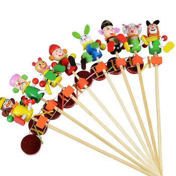 New children's educational cartoon hand puppet rattle wooden drum beat the drum baby rattle Toys