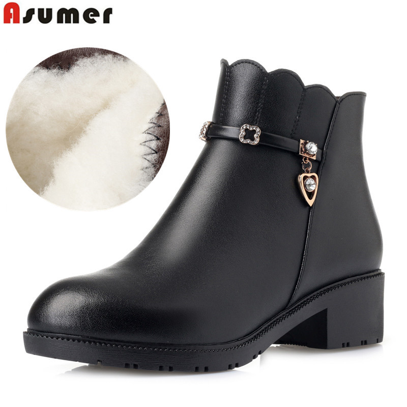 ASUMER 2019 genuine leather ankle boots warm wool snow boots women square heel ladies high quality