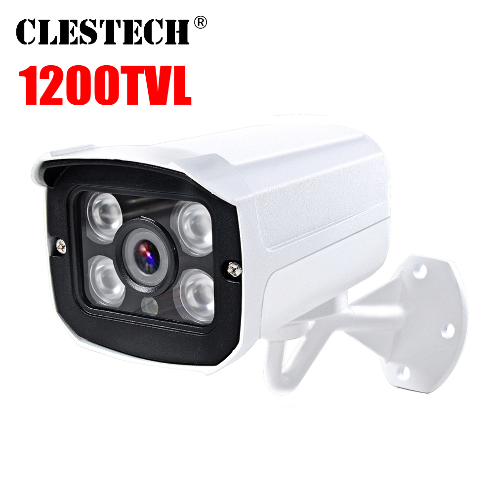 Metal Real 1200TVL HD cctv Camera Waterproof IP66 Outdoor Security IR CUT 4Led Array Infrared 30m Night Vision security vidicon in Surveillance Cameras from Security Protection
