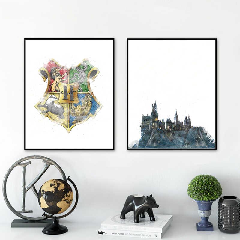 해리 캔버스 아트 인쇄 및 포스터, 마법의 성 및 로고 캔버스 회화 벽 아트 그림 거실 홈 장식