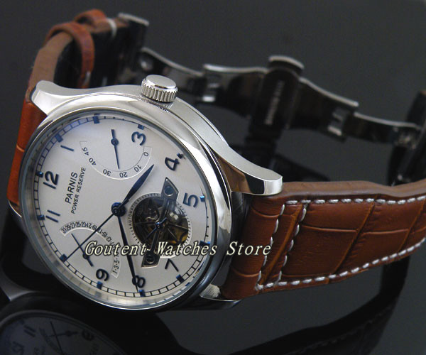 43mm Parnis Date White Dial Chronometer Power Reserve Automatic Men's Watch