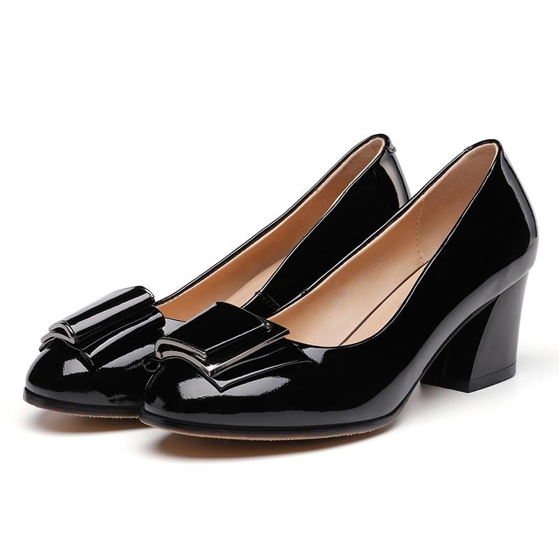 Universe Big Size Office Lady Pumps Dress 34-41 Autumn Spring Patent Leather Round Toe Rubber Black Low Heel Women Shoes E077