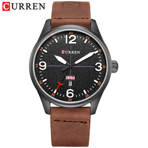 Image 2 - CURREN Brand Luxury Casual Military Quartz Watch Men Wristwatch Leather Strap Calendar erkek kol saati Relogio Masculino