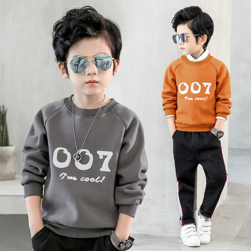 2018 Spring Warm Shirt for Boys Plus Velvet Sweatshirts for Boys Warm Outerwear Clothes T Shirt Kids Boys Sweatshirts