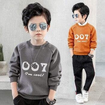 2018 Spring Warm Shirt for Boys Plus Velvet Sweatshirts for Boys Warm Outerwear Clothes T Shirt Kids Boys Sweatshirts