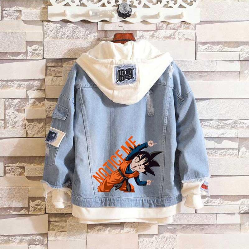 Coshome Anime Dragon Ball Son Goten Trunks Hoodie Spring Denim Jacket Men Women Couple Coat Streetwear (4)