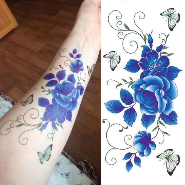 Blue Henna Tattoo: Aliexpress.com : Buy Waterproof Temporary Tattoo Sticker