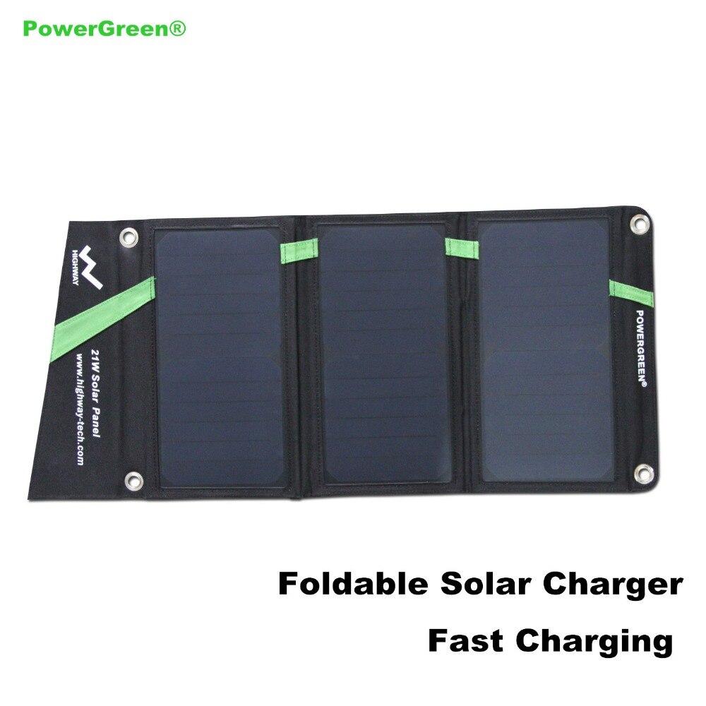 Powergreen plegable 5 v 2a cargador solar 21 vatios solar power bank batería de