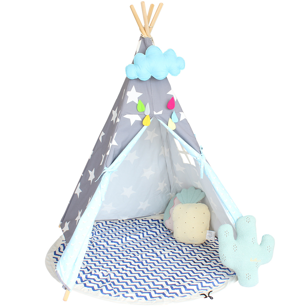 Children's Tent Star Pattern Teepee For Kids Cotton Canvas Play Tipi Children Playhouse For Kids Children's Room Tents Baby Tipi four poles kids play tent cotton canvas teepee children toy tent white pink blue playhouse for baby room tipi