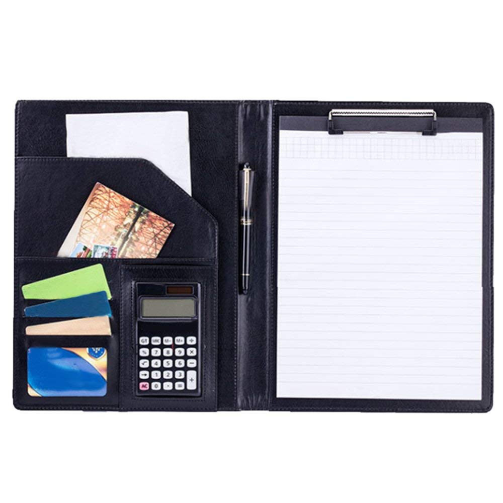 Clipboard Folder, Business Conference File Folder, Letter Size Clipboard Storage with Refillable Notepads (Black) wilson jones view tab professional binder with 5 tabs 1 inch capacity letter size black w55763