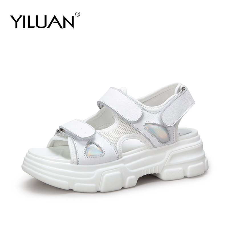 Yiluan Spring summer new genuine leather shoes women s sports platform casual sandals non slip bottom