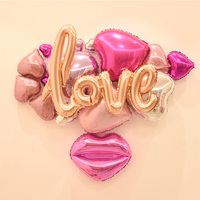High quality LOVE Heart + Love Letter + Kiss Foil Balloon Set Wedding DIY Decoration Suit Inflatable Balls Party Supplies