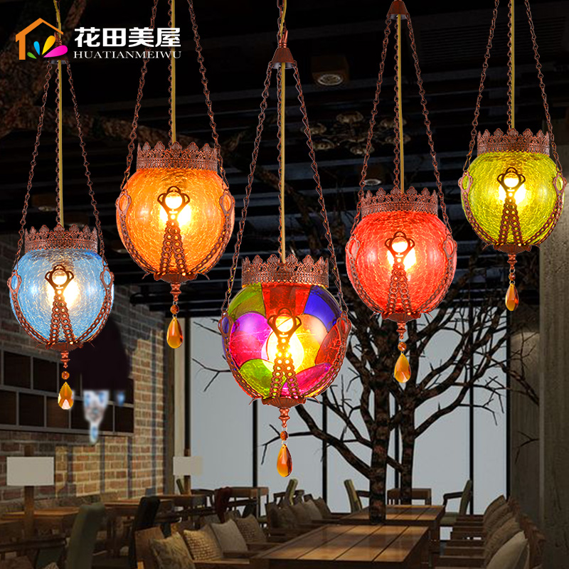 Turkey Southeast Asia Bohemia Colorful Glass Ceiling Lamp Crystal Droplight Coffee Shop Cafe Bar Dining Room Store Decor Lamp vintage loft industrial edison flower glass ceiling lamp droplight pendant hotel hallway store club cafe beside coffee shop