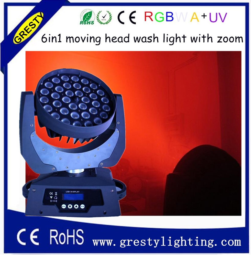 DMX DJ Stage lighting 36 x 18W RGBWA UV Wash LED Moving Head light