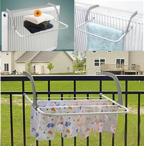 New Indoor/Outdoor Easy Install Folding Clothes Drying Rack Hanging Over  The Door Or On