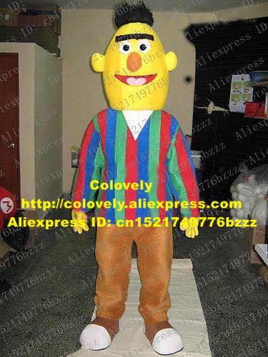 Hidup Bert Anak Muda Maskot Kostum Sesame Street Anak Muda Anak Muda dengan Kulit Kuning Langka Rambut Mulut Besar No 719 kapal Gratis