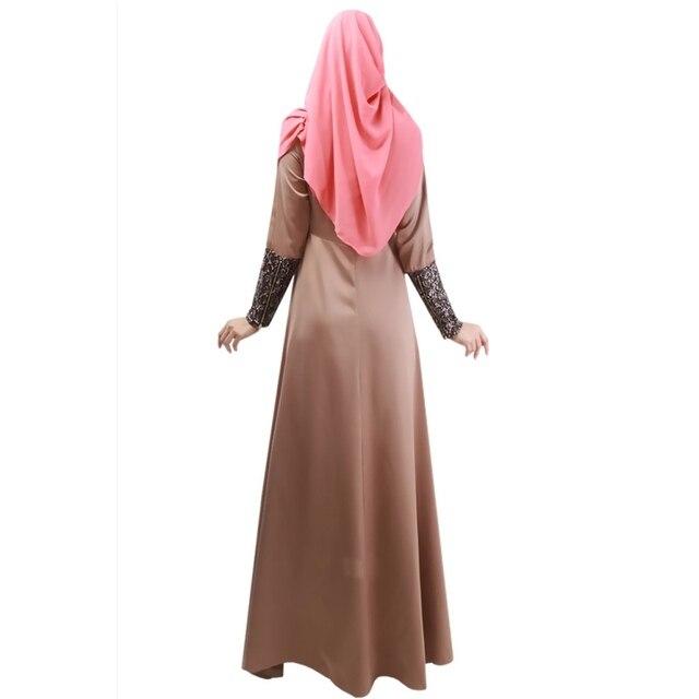 Women Lady Vestidos Party Dresses Solid Kaftan Abaya Islamic Apparel Vogue Muslim Long Sleeve Maxi Dress Large Size Dress 2018 Best Women Dresses