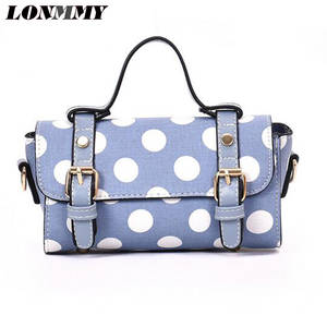 f5db8b740172 LONMMY Fashion PU leather Women Handbags Dot pattern Barrel-shaped  Messenger Bags Female casual Wristlets White blue