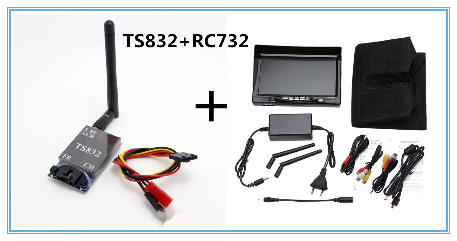 Boscam TS832 FPV 5.8G 600mw Channels Wireless A/V Transmitter RC732-DVR All-in-one 7 Inch 800*480 HD LCD FPV Monitor rc732 dvr 7 inch 800 480 hd lcd fpv monitor built in battery fpv boscam hd08a 1080p full hd waterproof sports camera