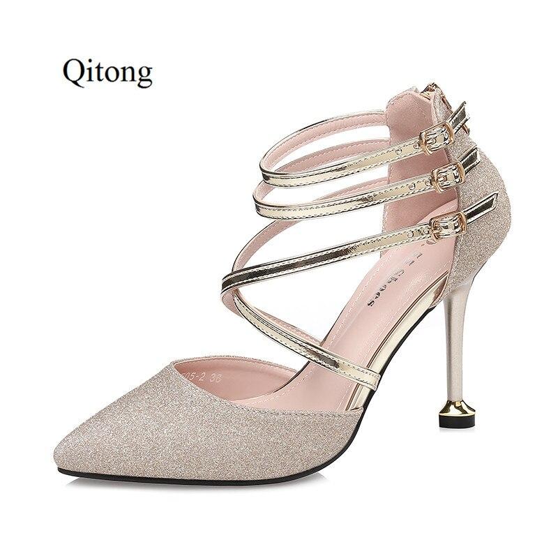 Qitong JS505 2 High Heels Pumps PU Material Pointed Toe