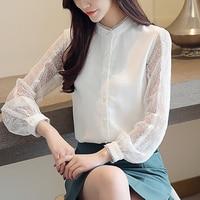 Womens Tunic Shirts Lace Top Transparent White Long Sleeve Fashion Women Blouses Loose Korean Hiffon Blouse