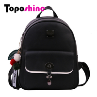 Toposhine Exquisite Pendant Plush Ball Women Backpack Diamond Turn Lock Famous Brand Backpack Solid Vintage Girls