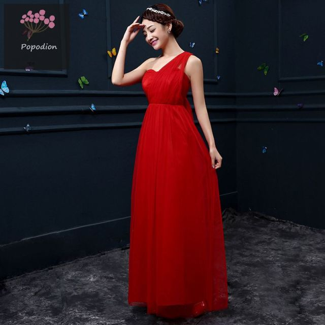 summer red bridesmaid dresses long style bridesmaid dress slim fit ...