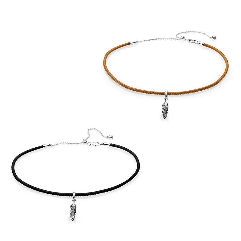 Nouveau 2018 nouveau 925 en argent Sterling noir et doré Tan en cuir collier ras du cou avec pendentif en plumes pour les femmes bijoux cadeau