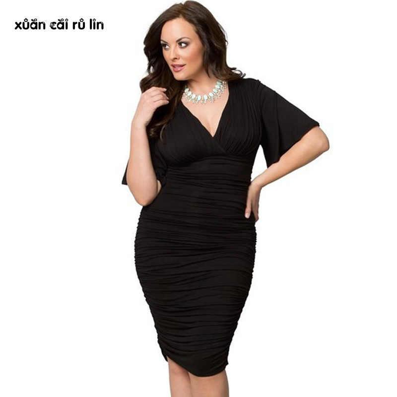 8875838bbd2 2017 осенне-летнее женское платье для полных Элегантных Черных сексуальных  рабочих платьев 3xl большого размера
