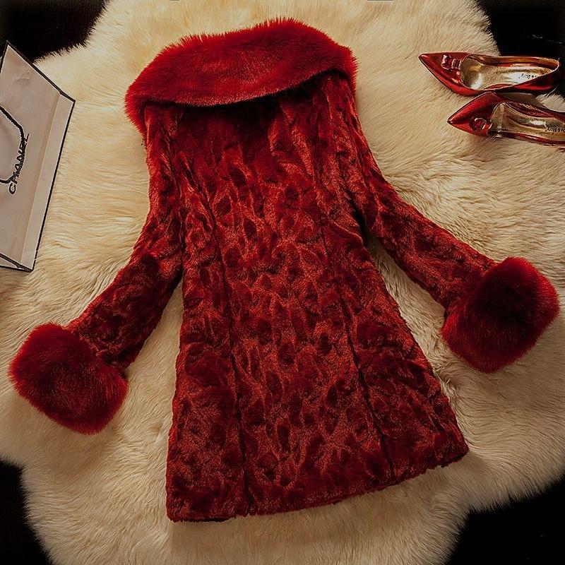 Renard 6xl Pour Solide Les wine Grande Manteau 2019 Lapin Red Faux Pardessus Chaud Épais Survêtement Femmes De Hiver Slim Taille Black Fourrure CwUnqa