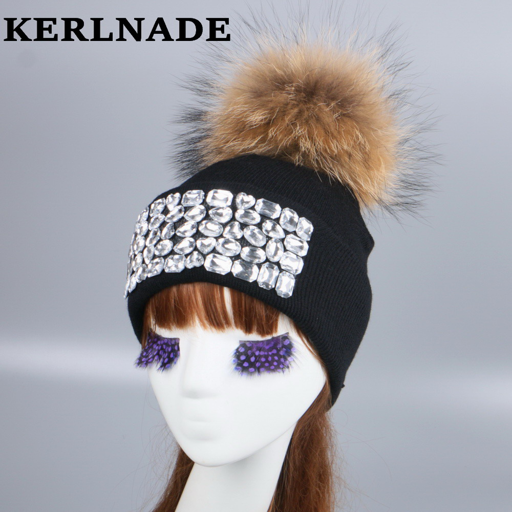 women brand winter hat girl fashion   skullies     beanies   luxury rhinestone thermal hats real mink fur warmer casual gorros hat