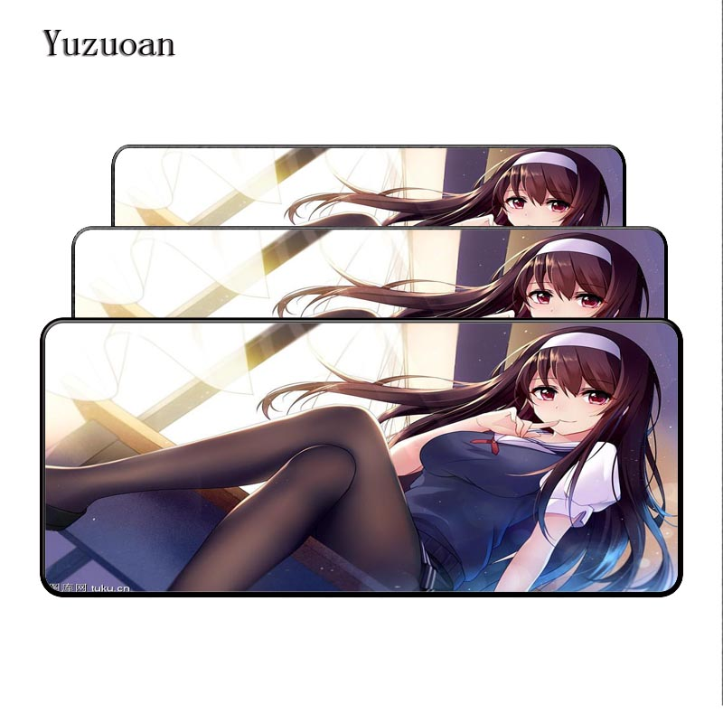 Yuzuoan 900x 400x5mm XL Japan sexy Anime large Overlock Mouse pad gaming Mousepad your wife Pretty girl friend gift desk mat