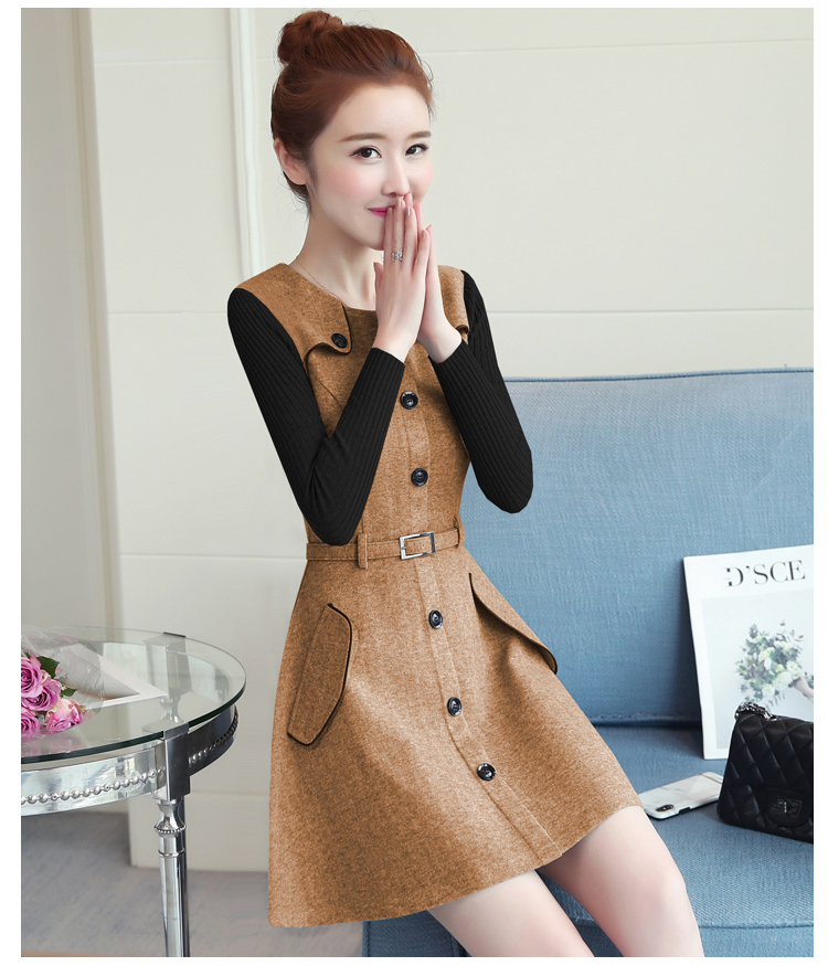 winter new round collar single-breasted cloth dress belt buttons A word women dresses Korean fashion outfit lady vogue vestido 25