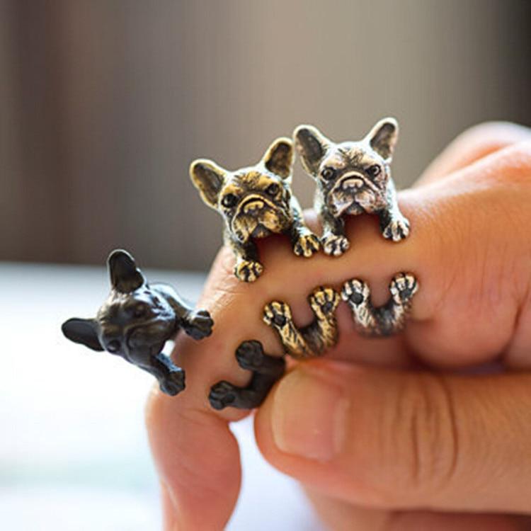 Competent New Fashion Retial Animal French Bulldog Ring Men And Women Animal Wrap Ring French Bulldog Ring Anel
