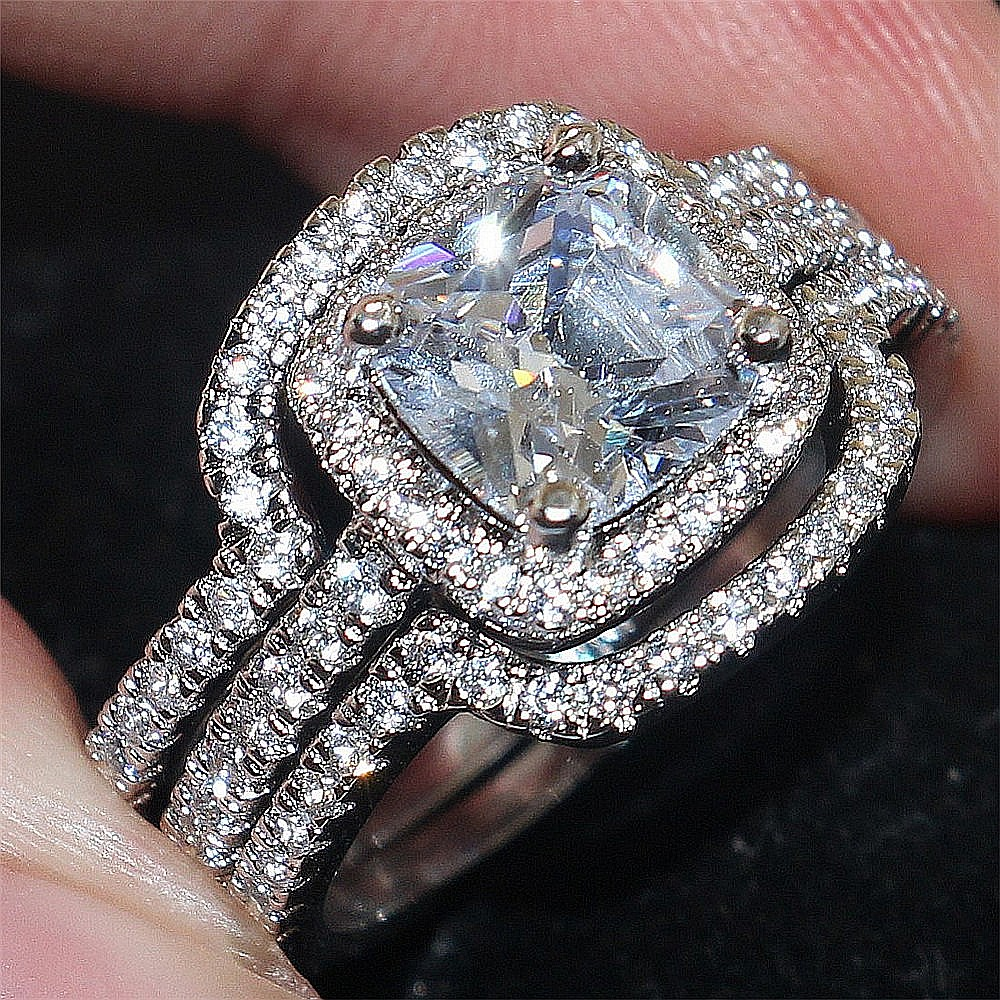 square moissanite square diamond wedding rings 14k Rose Gold Cathedral Forever ONE square princess cut moissanite solitaire engagement ring 4 prong dome ring