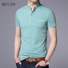 Summer 2018 man's T-shirt New Cotton Brand Clothing Solid Color Slim Fit Short Sleeve T Shirt Men Mandarin Collar Casual t-shirt