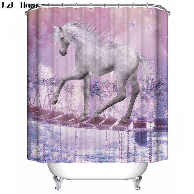LzL Home Fine Horse Deer Cow Penguin Shower Curtains Polyester High Quality  Animal Style 3d Waterproof Curtains For The Bathroom