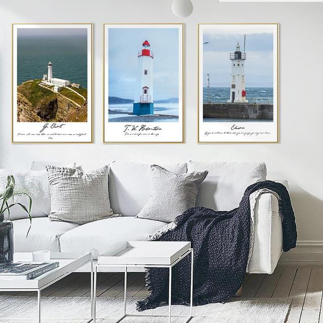 Nordic Home Decor Landscape Canvas Painting Lighthouse Oil Painting Wall  Picture For Living Room Sea Posters