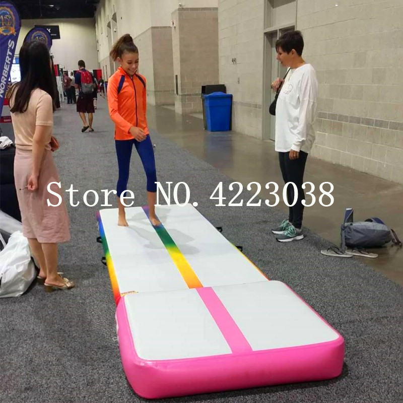 Free Shipping 3*1*0.2m Rainbow Air Track, Tumbling Mat, Inflatable Gymnastics Airtrack Mat, Air Floor Mat with Electric Air Pump