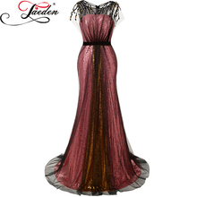JAEDEN Red Golden Long Evening Dresses Mermaid Sequin Black Tulle Cap Sleeves Pageant Dresses 2017 E630